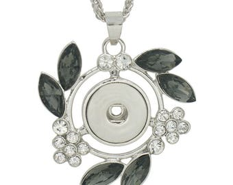 "KC0313  Large Silver Pendant with Black Oval Crystals & Clear Crystal Flowers ~ Includes 22"" Adjustable Chain"