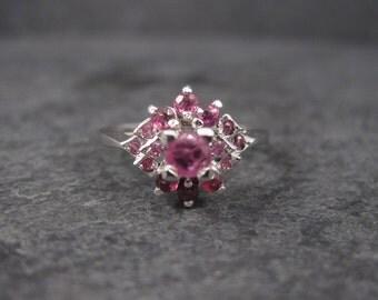 Vintage Sterling Pink Ruby Cluster Ring Size 8