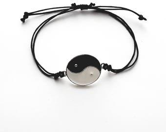 Handmade Yin Yang Energy  Balance Fully  Adjustable Waxed Cord Bracelet