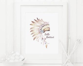 Tribal Headdress Printable Little Warrior Nursery Quote Prints Tribal Nursery Decor Southwest Decor Native Wall Art Boy Nursery Wall Art