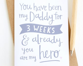 Personalised First Father's Day Card - Card for New Daddy - Father's Day Card - My Hero Card for Daddy - New Dad Card - Father's Day