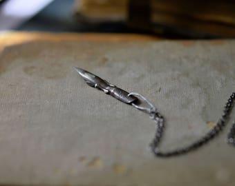Vintage Pen Nib Necklace / Antique Fountain Pen Pendant / Sterling Silver Chain / Odd Ephemera Jewelry / Steampunk Pendant