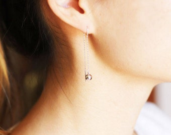 Silver ball threader earrings, Silver long chain earrings, Threader earrings, Long chain earrings, Silver chain earrings