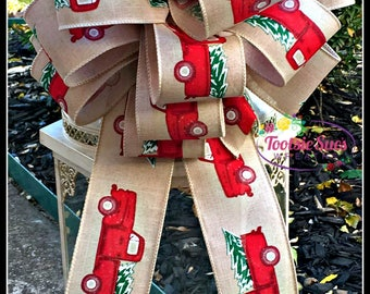 Christmas Vintage Red Truck Christmas Tree Bow, Lantern Bow, Package Bow, Gift Bow, Christmas Bow, Wreath Bow, Basket Bow, Stair Rail Bow