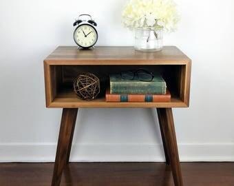 nightstand walnut bedside table wood mid century modern furniture bedside night table
