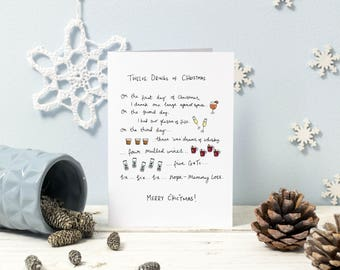"Twelve Drinks of C""HIC""tmas  Funny Christmas card"