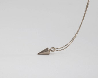 14k White Gold Plumb Pendant, Necklace for Men, Pendulum Spike Necklace, Cone Pendant,Gift for Boyfriend,Unique Necklace