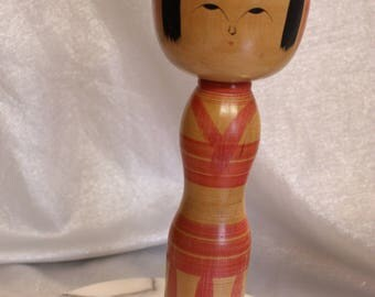 Beautiful Vintage Kokeshi Doll Extra Large, Hand Turned Doll, Japan Wooden Dolls, artist signed