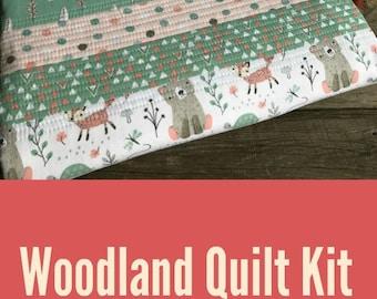 Woodland Baby Quilt Kit - Toddler Quilt Kit - Woodland Quilt - Homemade Baby Quilt Kit - Modern Blanket Kit - Handmade Quilt Kit