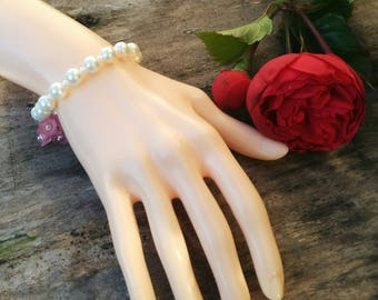 Bridal Pearl Bracelet with Pink Flowers