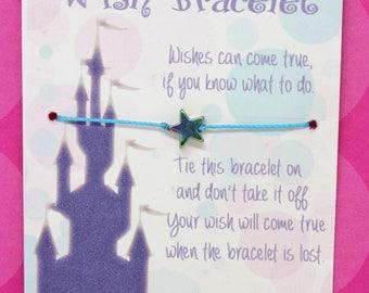 Princess Wish Bracelet, Lot of 5, Birthday Party Favor, Girls Birthday, Kid Jewelry, Princess Party, Party Supply, Fairytale Castle,