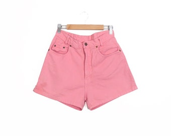 "Vintage 90s High Waisted Neon Pink Denim Shorts 27"" Waist"