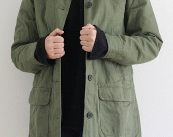 90s LANDS' ENDS cord collar army green barn coat, checked flannel lining