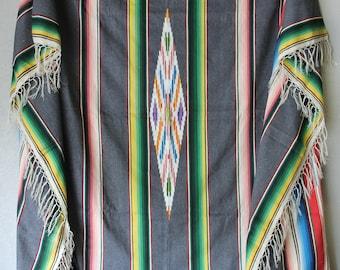 Vintage Serape Saltillo Blanket, Very Large Wool Serape