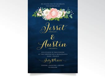 The JENNY . Wedding Invitation Set White Rose Garland Pink Peony Ranunculus Dusty Miller Gold Calligraphy Navy Chalkboard Printed 3-Card Set