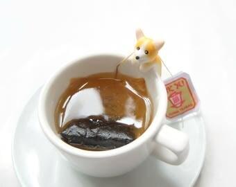 Welsh Corgi Tea Bag Holder - Pembroke Corgi Gifts - Dog Lovers Gifts - Sipping Tea Cup Decor - Mug Decor - Bowl Decor - Tea Lovers Gifts