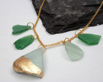 Sea glass necklace, Beach glass necklace, Long gold necklace, Recycled glass necklace, Green Charm necklace, Long Statement necklace, gift