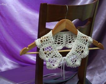 "Collar ""Sugar"": Crochet Collar, Handmade Lace Collar, Neck Accessory, White Collar"