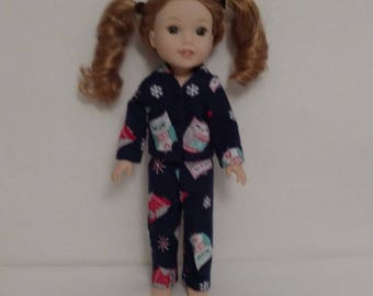 14.5 inch doll clothes, Flannel Pajamas fits American Girl 14.5 in Wellie Wishers Doll, Clothes Handmade in America, gift for girls 280b