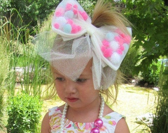Tulle hair bows etsy jumbo hair bow for girls boutique sized girl hair bow tulle hair bow urmus Choice Image
