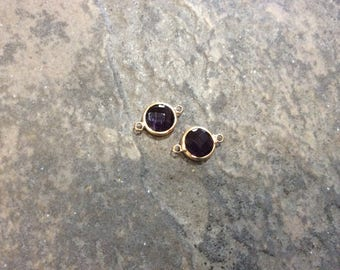 Amethyst purple bezel set faceted glass connector charms Package of 2 gold finish charms