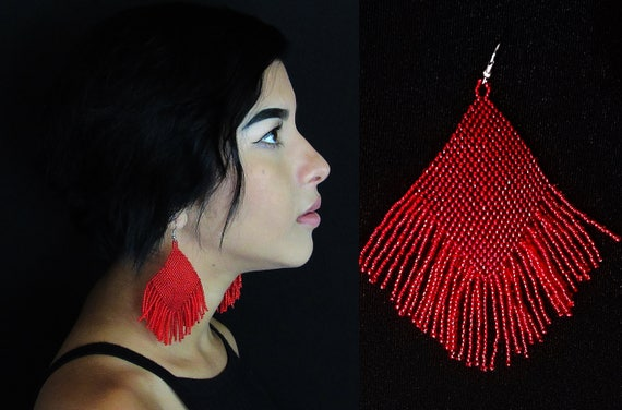 Red Boho Tribal Earrings, Huichol Native American Beaded Earrings, Diamond Fringe Earrings, Large Dangling Earrings, Traditional Beadwork