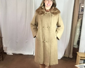 Vintage Style Craft New York Beige Double Breasted Wool Coat with light brown MINK Collar