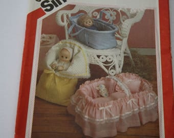 """Doll CARRIERS patterns BASKET /BUNTING Bag UNcut Simplicity 6056 for Dolls Up to 18"""", Covered Basket for Doll Beds"""
