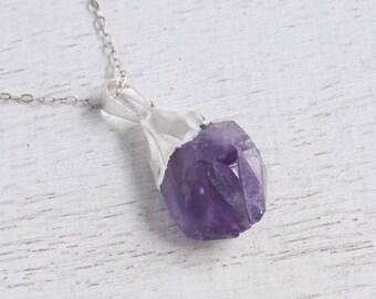 Boho Necklace, Raw Amethyst Necklace, February Birthstone, Rough Amethyst Pendant, Amethyst Crystal, Purple Necklace, Silver Necklace, 8-581