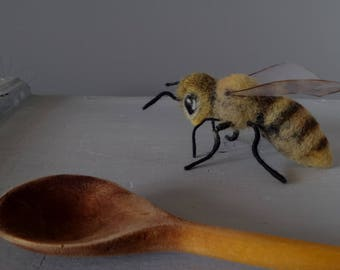 Needle Felted Honey bee Giant felt bumble bee Felted animal sculpture Bugs Insects lover gift art doll
