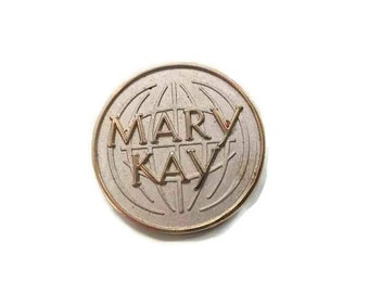 Mary Kay Globe Silver tone Gold Letters Pinback Lapel Pin Tie Tack Hat Pin