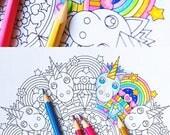 Rainbow Unicorn - Mandala Coloring Page - printable coloring page - adult kids coloring pages - pastel girl birthday party