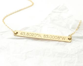 Wedding Coordinates Bar Necklace - Destination Wedding - Just Married Gift Idea - Anniversary Gift for Her - Wifey Gift