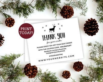 Business thank you etsy holiday business thank you card template etsy seller thank you card printable small business reheart Images