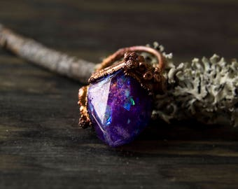6.75/ Enchanted Purple Crystal Witch Mountain Fantasy Electroformed Copper Resin Ring