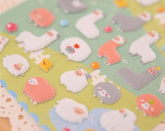 Alpaca Bubble Stickers (1 Sheet) / Cute Alpaca Stickers / Kawaii Alpaca / Cute Stationery / Kawaii Stationary / LLama Sheep Puffy Stickers