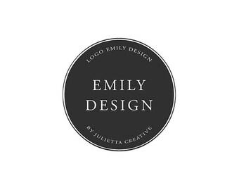 Instant download logo, instant DIY logo, premade logo design, logo photoshop template, black circle logo minimal design