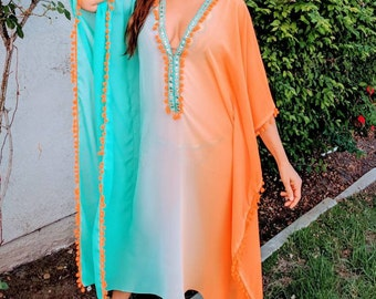 Bridal gift,Long Beach Caftan, Beach Cover ups, swimsuit Coverups, boho print,Honeymoon, Vacation, cruise, Aqua, beach kaftan, Caribbean