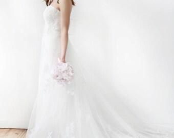 Strapless Empire Waist Beaded Lace Wedding Dress