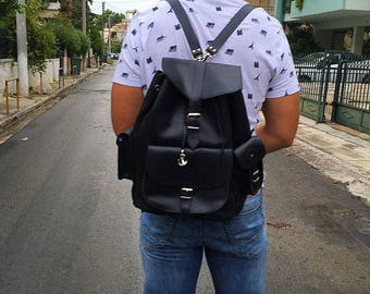 Haversack Men, Leather Backpack, Leather Satchel, Made in Greece from Full Grain Leather, EXTRA LARGE.