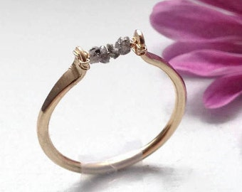 Promise Ring for Her, Rough Diamond Ring, Raw Diamond Ring, Uncut Diamond Ring, Stackable Gemstone Ring for Women, Gold & Sterling Silver