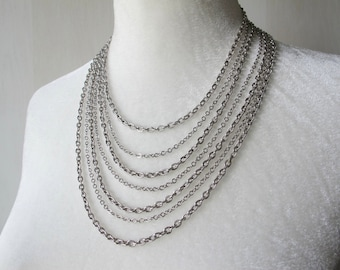 Multi Strand Necklace, Vintage Layered Necklace, Avon Jewelry