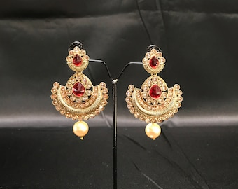 Indian Earrings - Chandbali Earrings - Indian Bridal - Indian Jewelry - Pakistani Earrings - Bollywood Earrings - Antique Gold and Red -