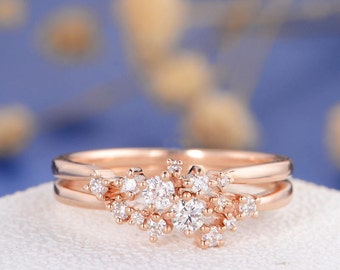 Diamond Cluster Ring  Rose Gold Twig Engagement Ring Floral Unique Wedding Band Snowflake Dainty Flower Mini Tiny Anniversary Promise 2pcs