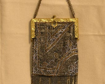 French Cut Art Deco 1920 Steel Micro Beaded Purse / Intricate Frame Depress Clasp Gold & Silver Steel Cut / Cross and Tied Scalloped Fringe