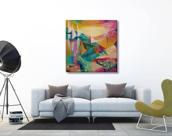 Yacht Painting, Large Canvas Painting Gift, Original Boat Painting, Modern Nautical Painting, Modern Painting Office, Apartment Decorating