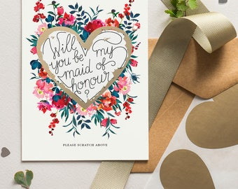 Will You Be My Bridesmaid Card Scratch Off Heart Floral Bloom 11