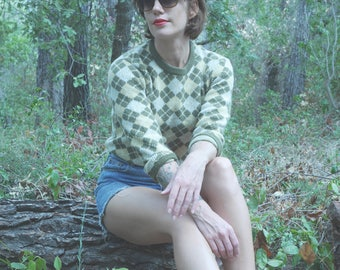 Vintage 1980-90's Plaid green Argyle sweater