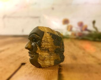 Crystal Tigers Eye - Carved Face - Crystal Specimen 55g