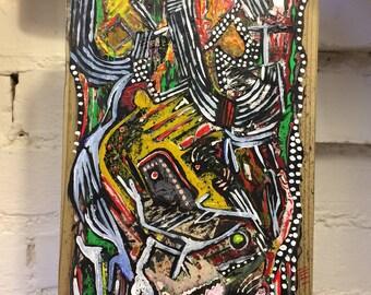 Original Abstract Painting Recycled Wood Block Mixed Media Star-Trek Comic Art